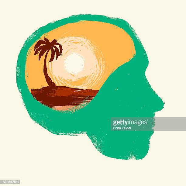 illustration of human head against white background representing vacation concept - silence stock illustrations