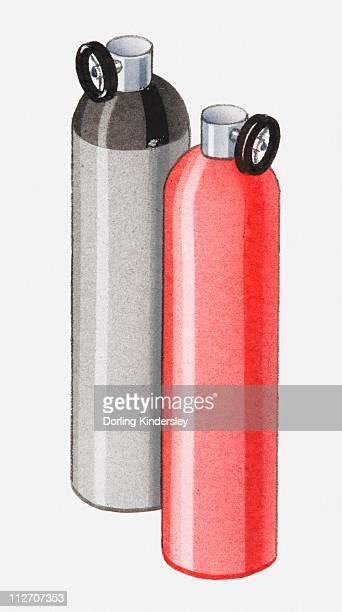 Illustration of hydrogen and nitrogen cylinders