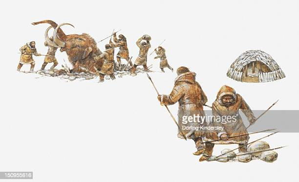 Illustration of Ice Age hunters killing a mammoth