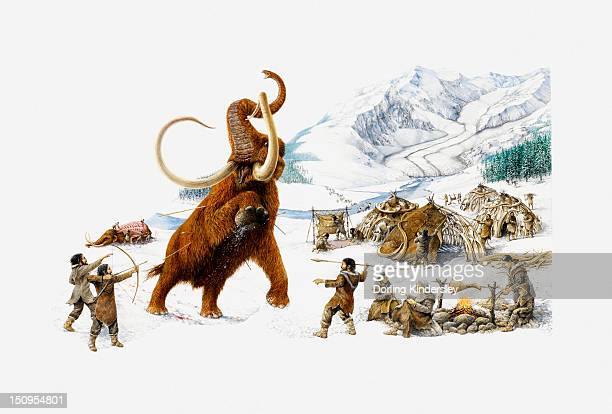 ilustraciones, imágenes clip art, dibujos animados e iconos de stock de illustration of ice age hunters trying to capture a mammoth, also showing the use of mammoth skin for shelter, and roasting of mammoth meat - era prehistórica