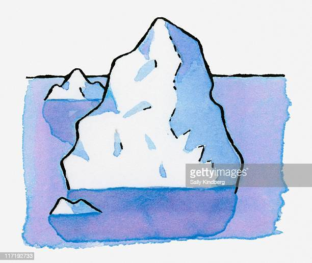 Illustration of iceberg underwater with tip above water
