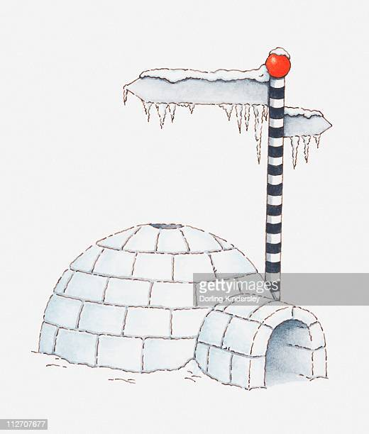 Illustration of igloo and a direction sign