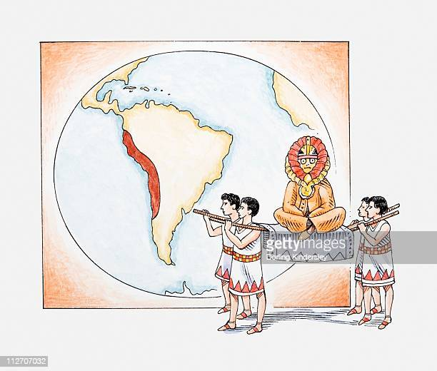 illustration of inca procession in front of map highlighting ancient inca empire - inca stock illustrations, clip art, cartoons, & icons