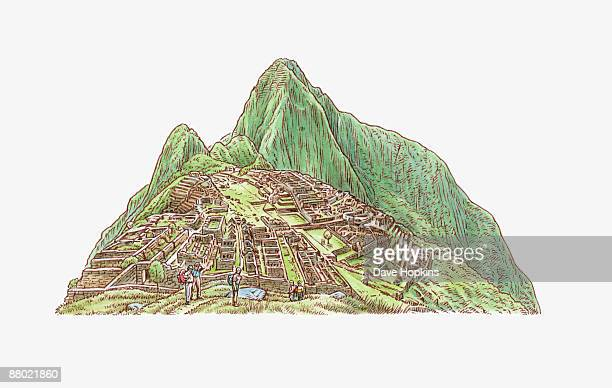 Illustration of Inca site of Machu Picchu built on mountain ridge below Huayna Picchu, Peru