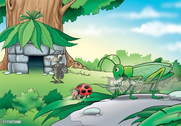 bildbanksillustrationer, clip art samt tecknat material och ikoner med illustration av insekter av trädet - myra