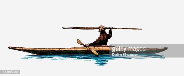 Illustration of Inuit man in kayak holding spear above head