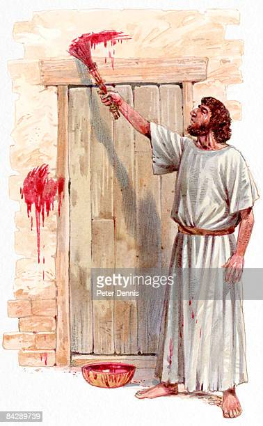 illustration of israelite man painting blood of passover lamb on wooden door post - passover stock illustrations