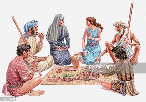 illustration of israelites sitting down for their last meal in egypt, passover, book of exodus - passover stock illustrations