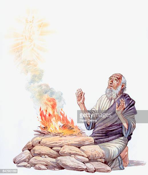 Illustration of Jacob kneeling before rock looking up and fire praying to God