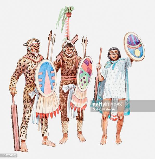 illustration of jaguar warriors and aztec soldier holding shields and spears - aztec stock illustrations