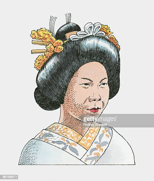illustration of japanese bride wearing traditional kimono - only japanese stock illustrations, clip art, cartoons, & icons