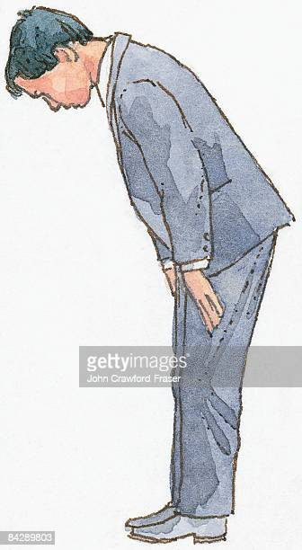Illustration of Japanese man bowing