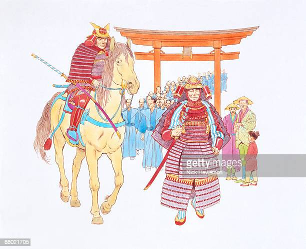 Illustration of Japanese Samurai leading procession of men, during era of the Tokugawa shogunate feudal system, as family look on