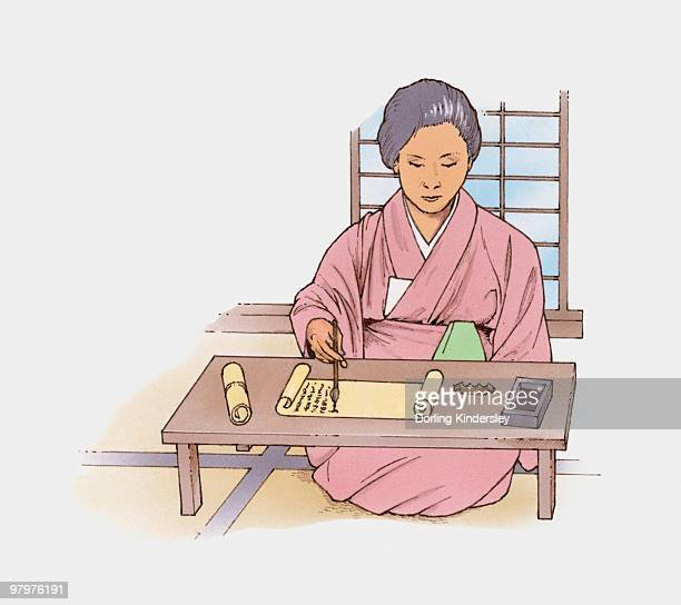 illustration of japanese woman writing with ink pen on scroll - only japanese stock illustrations, clip art, cartoons, & icons
