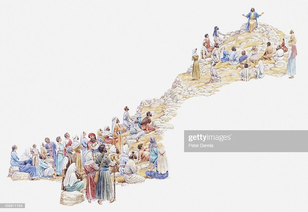 Illustration of Jesus giving sermon on the mount to crowd of people, Gospel of Matthew : stock illustration
