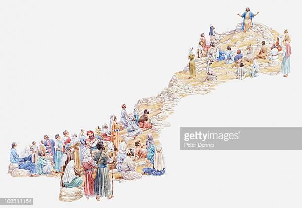 illustration of jesus giving sermon on the mount to crowd of people, gospel of matthew - 説教師点のイラスト素材/クリップアート素材/マンガ素材/アイコン素材