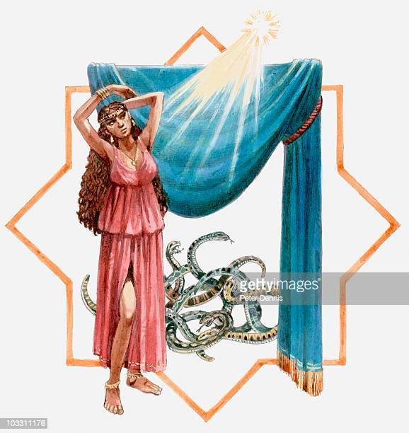 Illustration of Jezebel and snakes at church in Thyatira, Book of Revelation