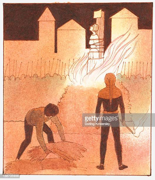 Illustration of Joan of Arc being burned at the stake as executioner holds torch and man lifts straw to fuel fire