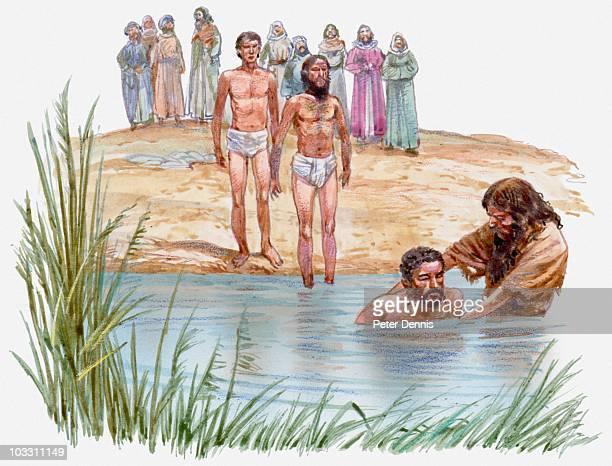 illustration of john the baptist baptising man in river jordan, others waiting on riverbank, gospel of luke - baptism stock illustrations