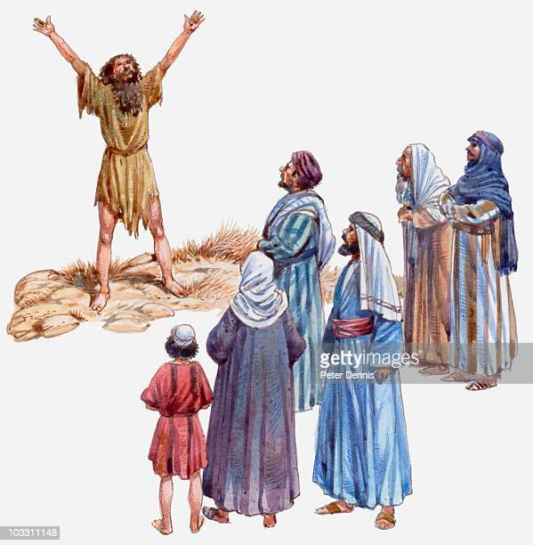 ilustraciones, imágenes clip art, dibujos animados e iconos de stock de illustration of john the baptist calling people to repent and be baptised, gospel of luke - san juan bautista