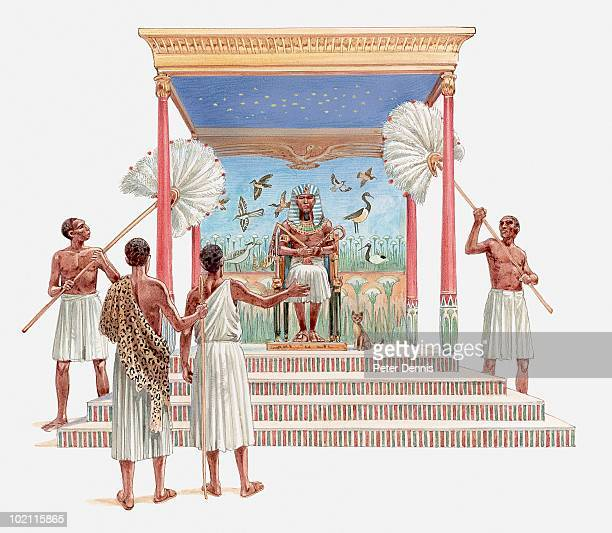 illustration of joseph being brought before the pharaoh to explain the latter's dreams, foretelling seven years of plenty, and seven years of famine, book of genesis - pharaoh stock illustrations