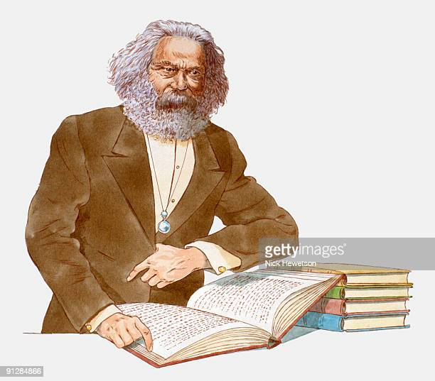 illustration of karl marx with open book - karl marx stock illustrations