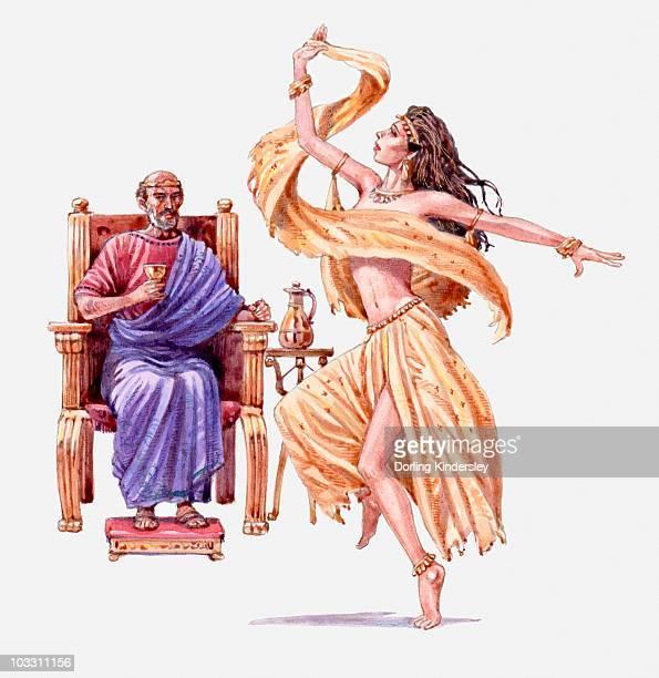 illustration of king herod on throne watching salome dance, gospel of matthew - salome stock illustrations