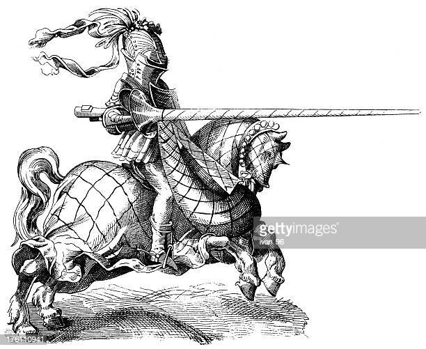 illustration of knight jousting - animals charging stock illustrations, clip art, cartoons, & icons