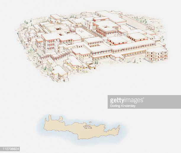 Illustration of Knossos Palace and simple map of Crete