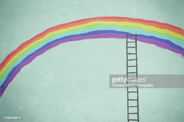 illustration of ladder reaching a rainbow - ideas stock illustrations