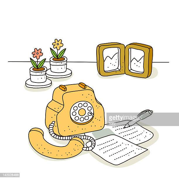 illustration of landline phone - phone cord stock illustrations, clip art, cartoons, & icons