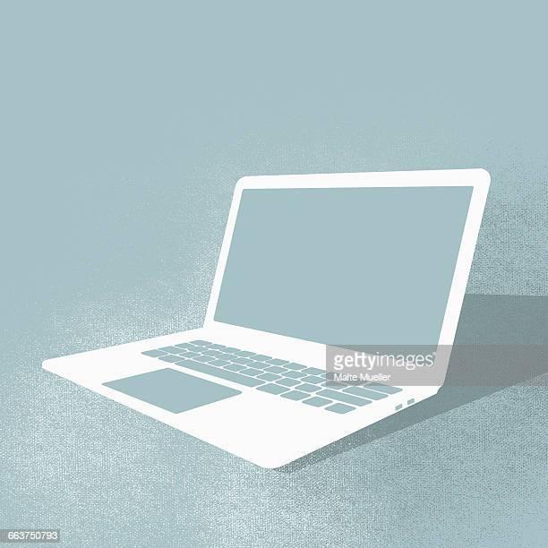 ilustrações, clipart, desenhos animados e ícones de illustration of laptop against turquoise background - clip art
