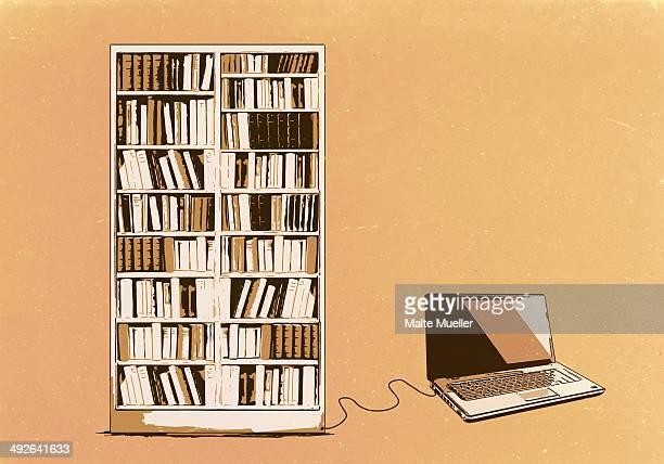 ilustrações, clipart, desenhos animados e ícones de illustration of laptop connected to bookshelf - biblioteca