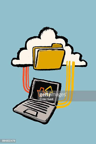 illustration of laptop connected to cloud with folder against blue background - receiving stock illustrations