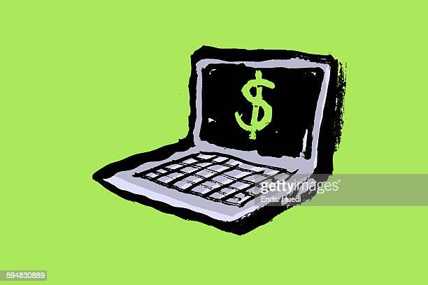 illustration of laptop with dollar sign against green background - 薄い点のイラスト素材/クリップアート素材/マンガ素材/アイコン素材