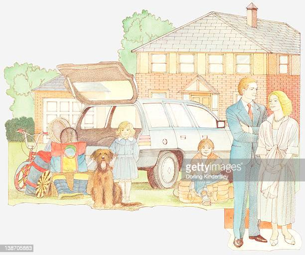Illustration of late 20th century family outside house with two children, dog and car