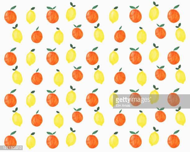 illustration of lemons and oranges on white background - {{ contactusnotification.cta }} stock illustrations