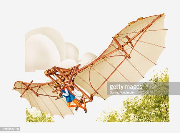Illustration of Leonardo da Vinci's ornithopter flying machine