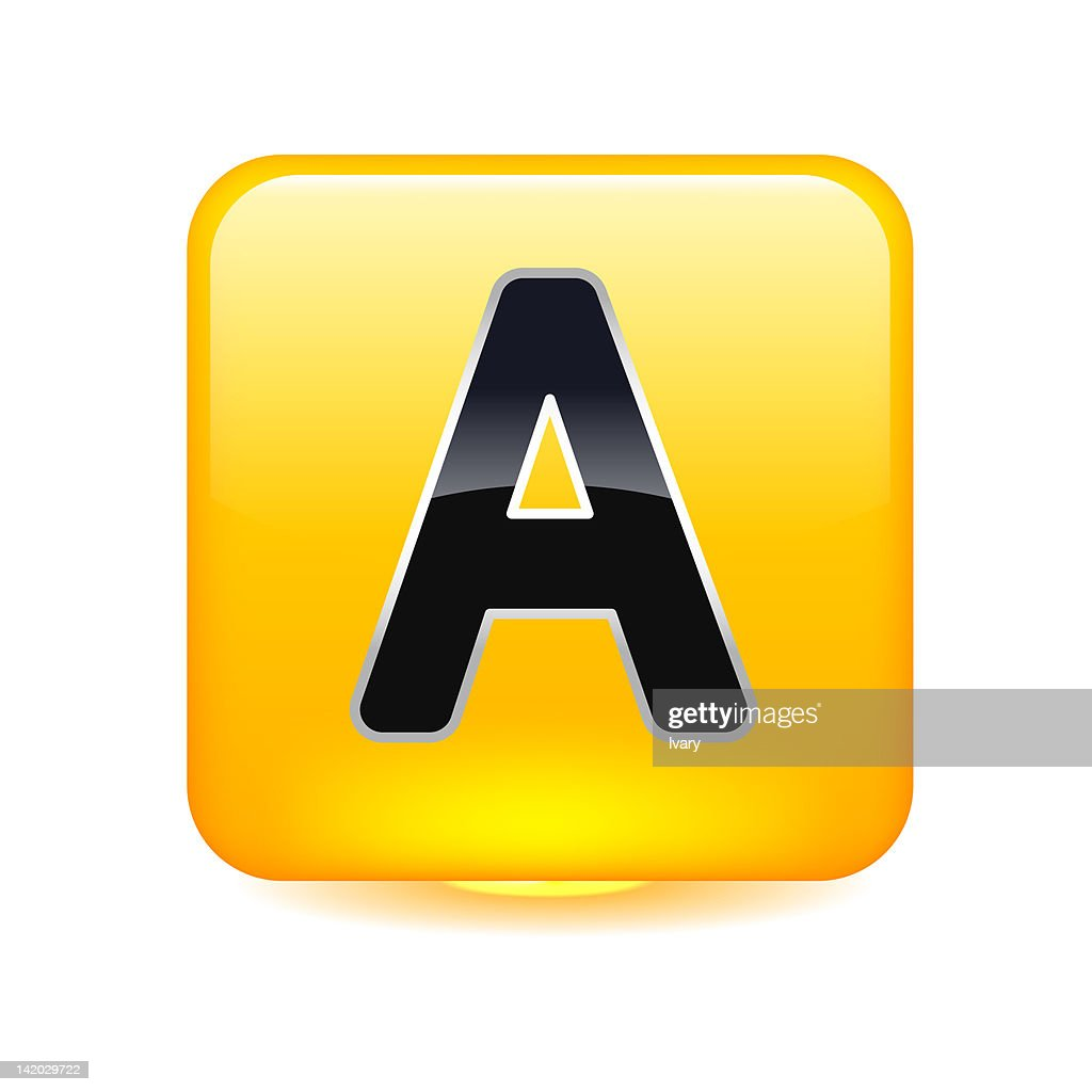 Illustration Of Letter A In Yellow Square Stock Illustration Getty