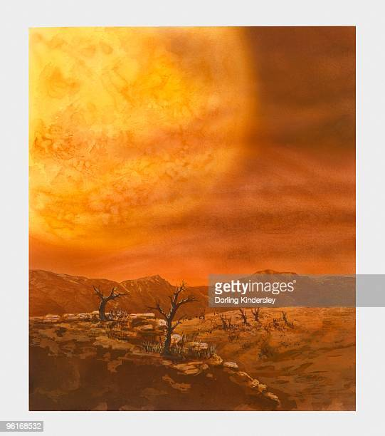 illustration of life of the sun gradually turning into a giant star - dehydration stock illustrations, clip art, cartoons, & icons