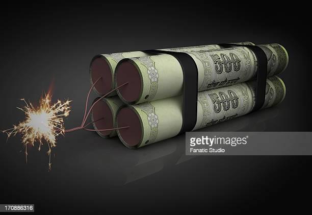 Illustration of lighted rupee dynamite