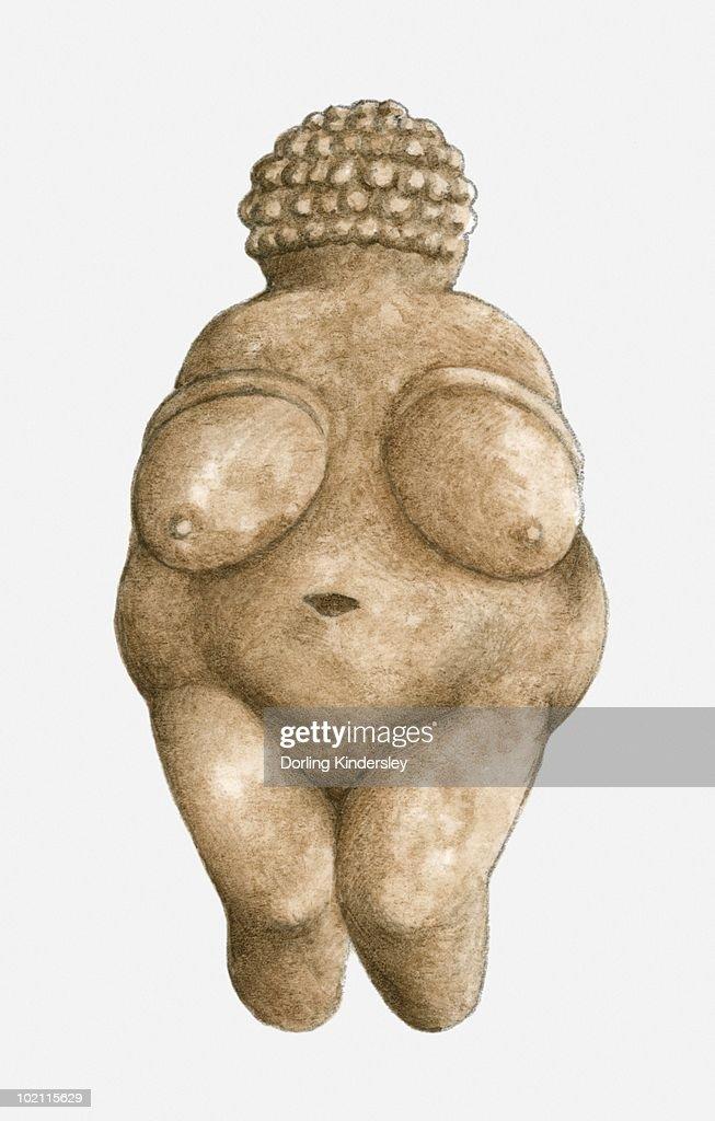 Illustration of limestone Venus of Willendorf : stock illustration