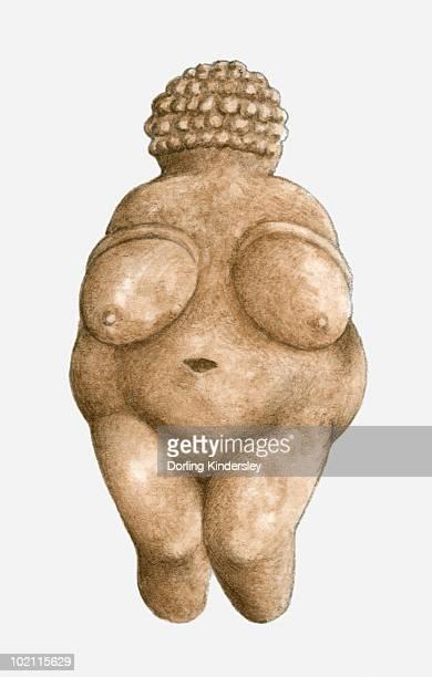 ilustrações, clipart, desenhos animados e ícones de illustration of limestone venus of willendorf - era prehistórica