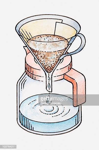 ilustraciones, imágenes clip art, dibujos animados e iconos de stock de illustration of liquid dripping through coffee filter in funnel - filtración