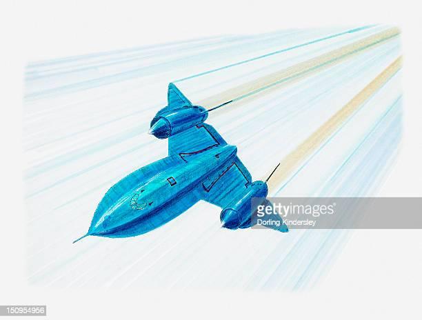 illustration of lockheed sr-71 blackbird - us air force stock illustrations
