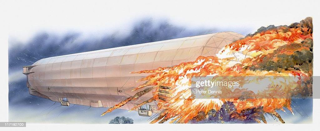 Illustration of LZ 4 (Zeppelin) bursting into flames during storm : stock illustration