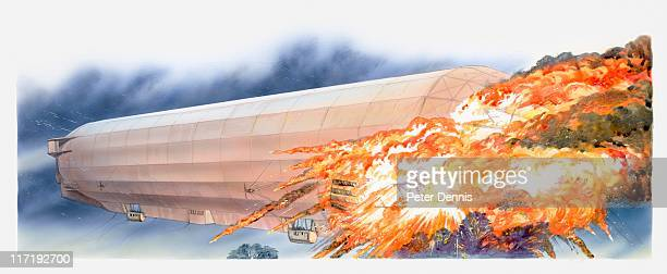 Illustration of LZ 4 (Zeppelin) bursting into flames during storm
