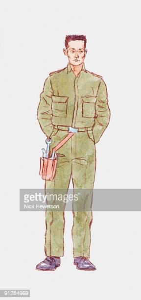 ilustrações, clipart, desenhos animados e ícones de illustration of maintenance worker wearing green overalls and tool belt - cinto de ferramentas