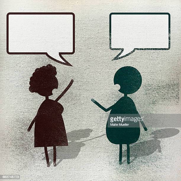 illustration of man and woman with speech bubble - thought bubble stock illustrations