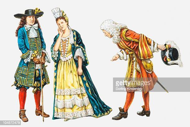 Illustration of man bowing to 17th century Stuart nobleman and woman